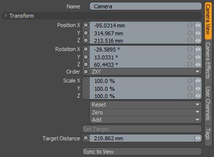 Name: отображает название выбранной камеры для редактирования параметров.  Что бы изменить имя камеры